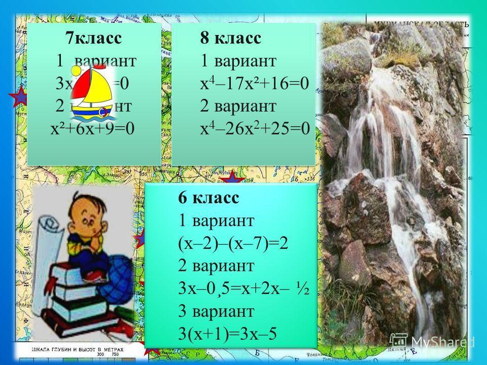 Имандра Воронья Ловозеро 8 класс 1 вариант х 4 –17x²+16=0 2 вариант х 4 –26x 2 +25=0 8 класс 1 вариант х 4 –17x²+16=0 2 вариант х 4 –26x 2 +25=0 7 класс 1 вариант 3x²+6x=0 2 вариант x²+6x+9=0 7 класс 1 вариант 3x²+6x=0 2 вариант x²+6x+9=0 6 класс 1 в