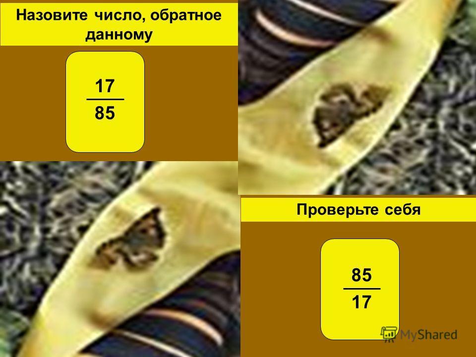 Проверьте себя Назовите число, обратное данному 17 85 17