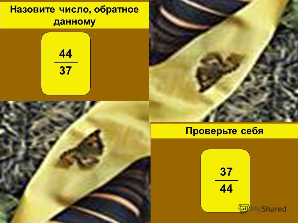 Проверьте себя Назовите число, обратное данному 44 37 44
