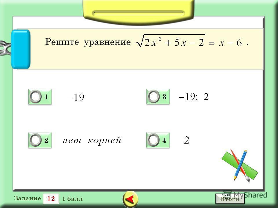 12 Задание 1 балл 1 1 0 2 2 0 3 3 0 4 4 0 Решите уравнение. Итоги