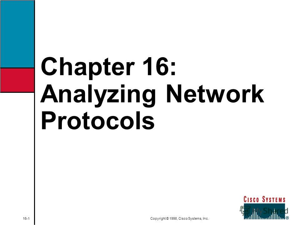 Chapter 16: Analyzing Network Protocols 16-1 Copyright © 1998, Cisco Systems, Inc.