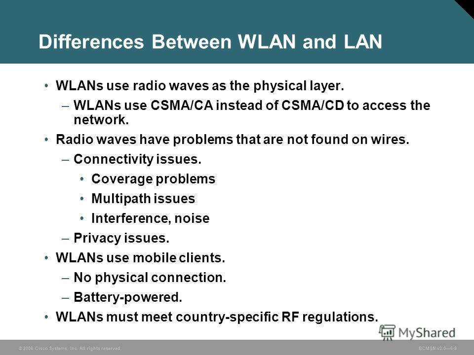 © 2006 Cisco Systems, Inc. All rights reserved. BCMSN v3.06-9 Differences Between WLAN and LAN WLANs use radio waves as the physical layer. –WLANs use CSMA/CA instead of CSMA/CD to access the network. Radio waves have problems that are not found on w