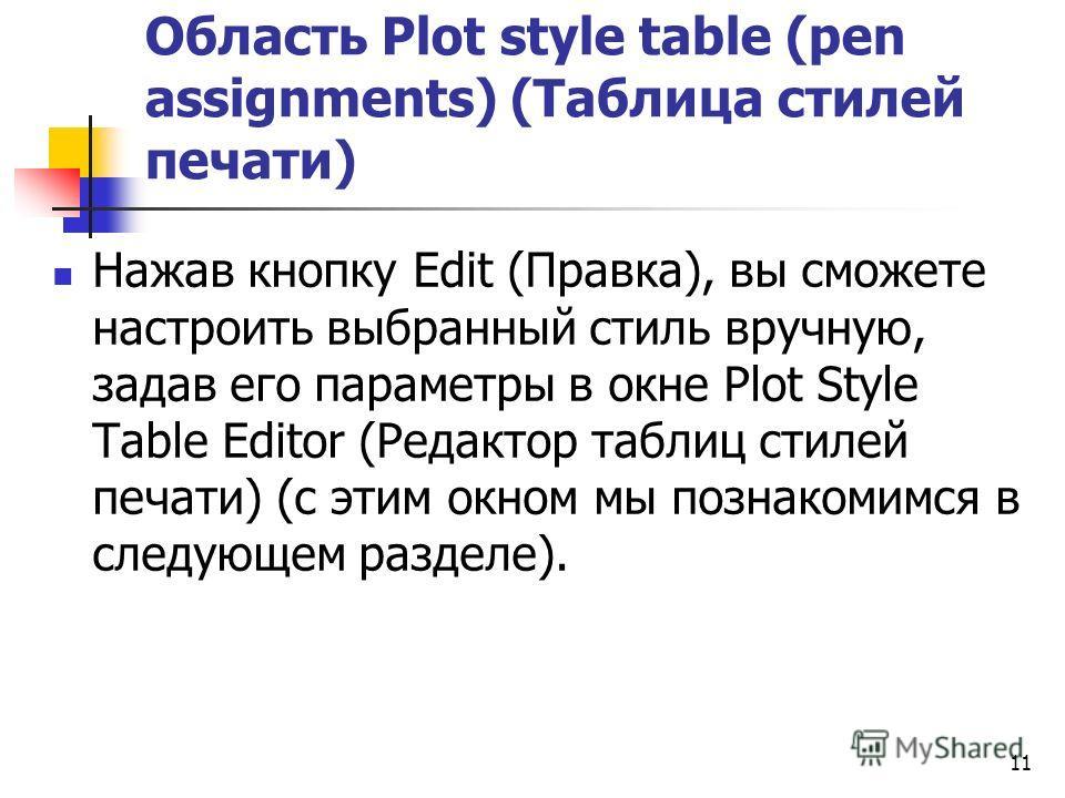 Область Plot style table (pen assignments) (Таблица стилей печати) Нажав кнопку Edit (Правка), вы сможете настроить выбранный стиль вручную, задав его параметры в окне Plot Style Table Editor (Редактор таблиц стилей печати) (с этим окном мы познакоми