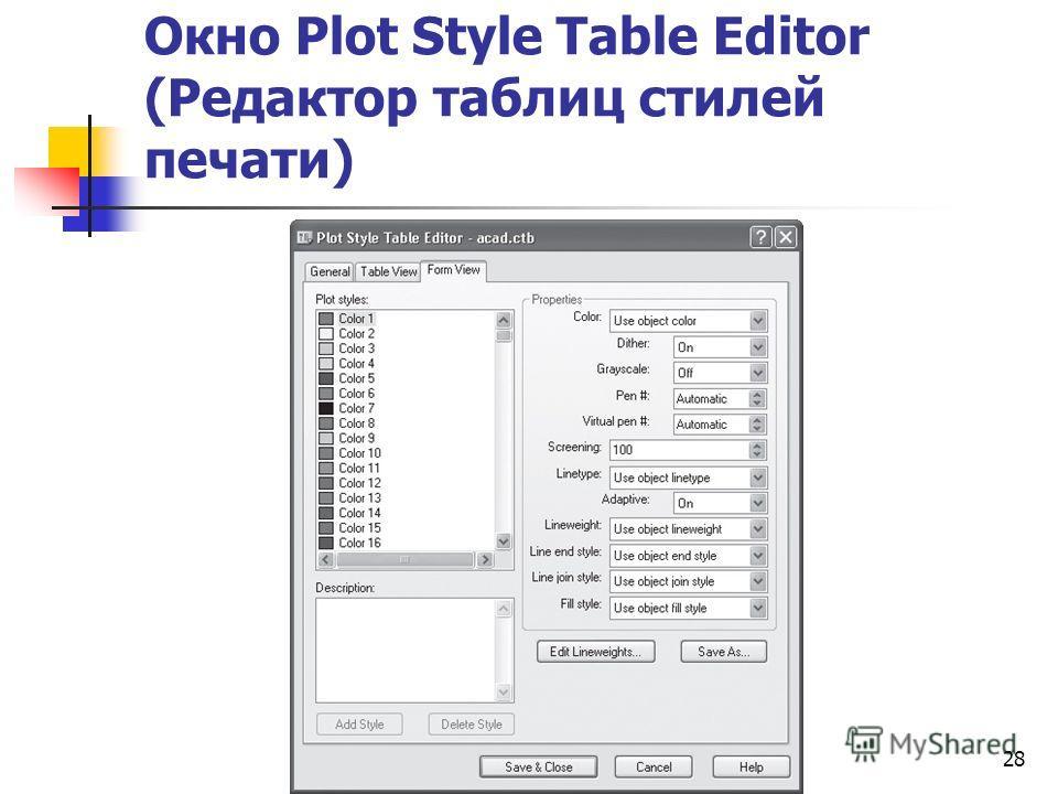 Окно Plot Style Table Editor (Редактор таблиц стилей печати) 28