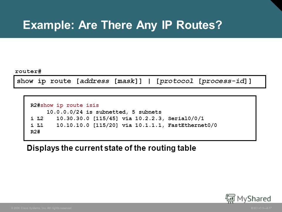 © 2006 Cisco Systems, Inc. All rights reserved. BSCI v3.04-17 Example: Are There Any IP Routes? R2#show ip route isis 10.0.0.0/24 is subnetted, 5 subnets i L2 10.30.30.0 [115/45] via 10.2.2.3, Serial0/0/1 i L1 10.10.10.0 [115/20] via 10.1.1.1, FastEt