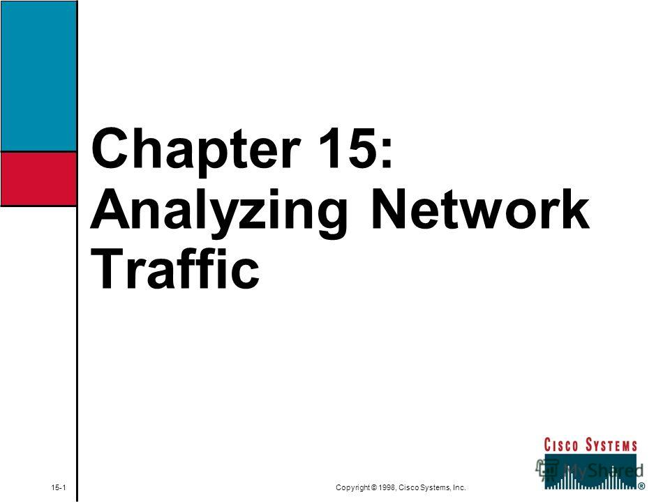 Chapter 15: Analyzing Network Traffic 15-1 Copyright © 1998, Cisco Systems, Inc.