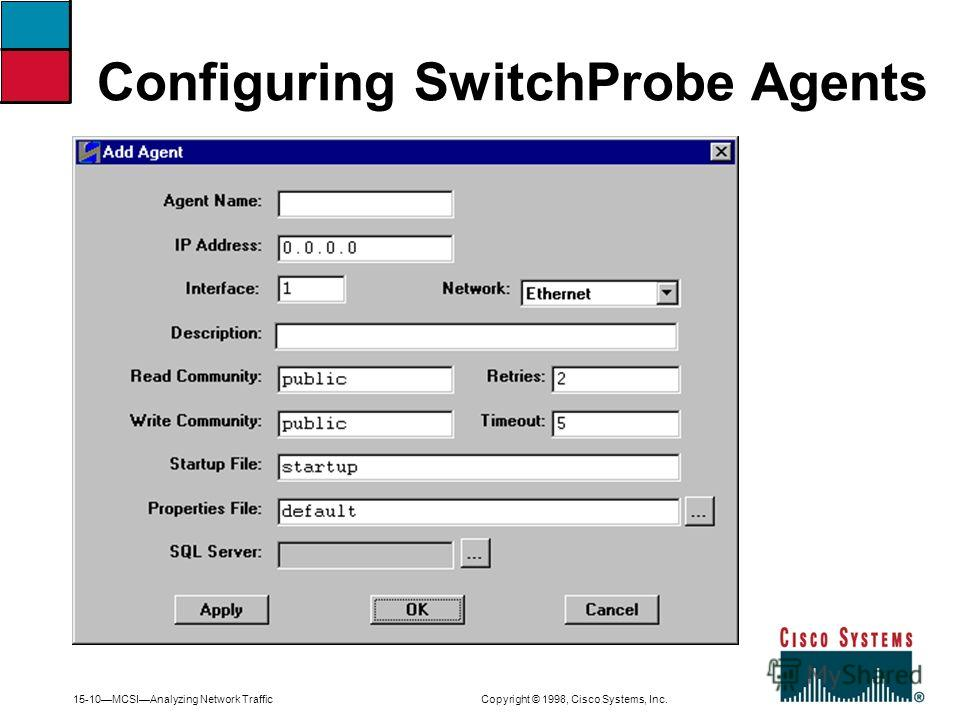 15-10MCSIAnalyzing Network Traffic Copyright © 1998, Cisco Systems, Inc. Configuring SwitchProbe Agents