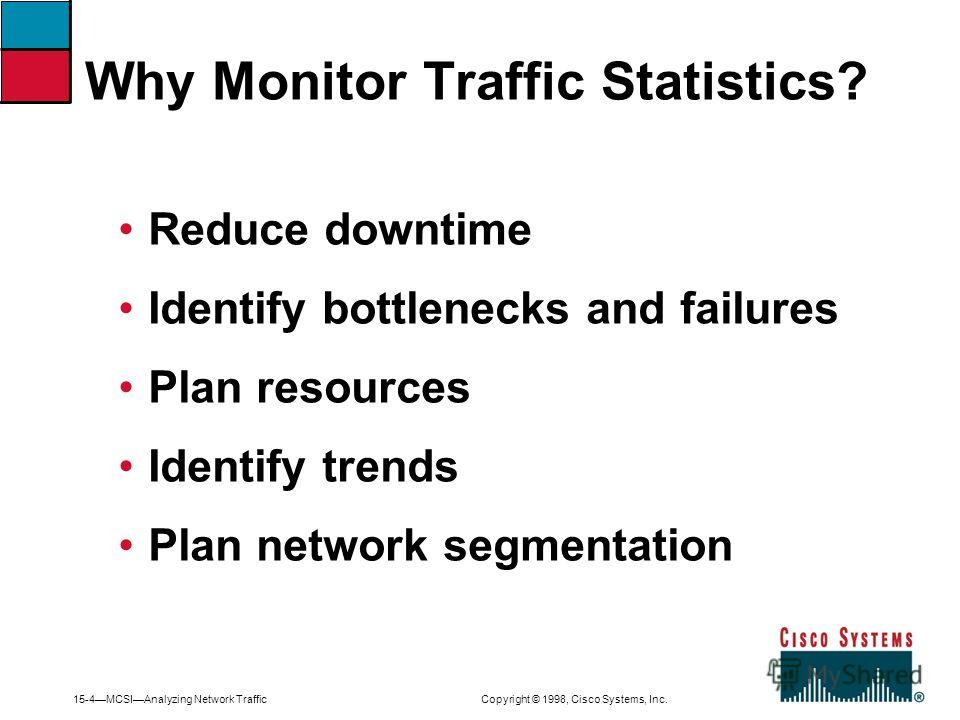 15-4MCSIAnalyzing Network Traffic Copyright © 1998, Cisco Systems, Inc. Reduce downtime Identify bottlenecks and failures Plan resources Identify trends Plan network segmentation Why Monitor Traffic Statistics?