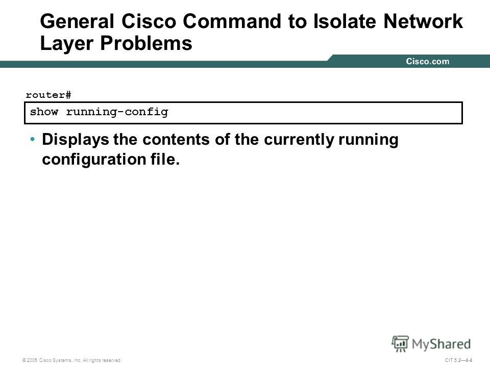 © 2005 Cisco Systems, Inc. All rights reserved. CIT 5.24-4 show running-config router# Displays the contents of the currently running configuration file. General Cisco Command to Isolate Network Layer Problems