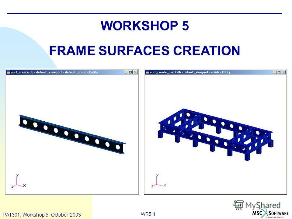 WS5-1 PAT301, Workshop 5, October 2003 WORKSHOP 5 FRAME SURFACES CREATION