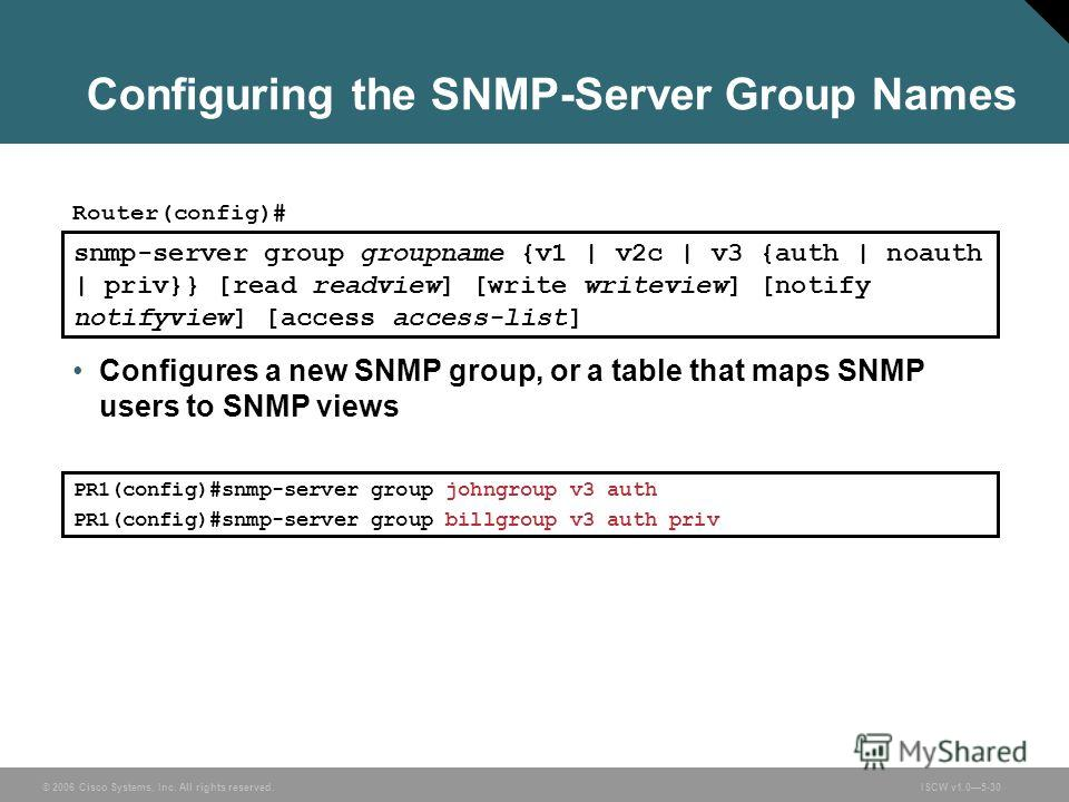© 2006 Cisco Systems, Inc. All rights reserved.ISCW v1.05-30 Configuring the SNMP-Server Group Names snmp-server group groupname {v1 | v2c | v3 {auth | noauth | priv}} [read readview] [write writeview] [notify notifyview] [access access-list] Router(