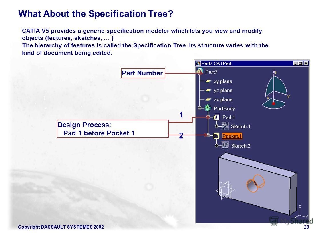 Copyright DASSAULT SYSTEMES 200228 What About the Specification Tree? CATIA V5 provides a generic specification modeler which lets you view and modify objects (features, sketches, … ) The hierarchy of features is called the Specification Tree. Its st