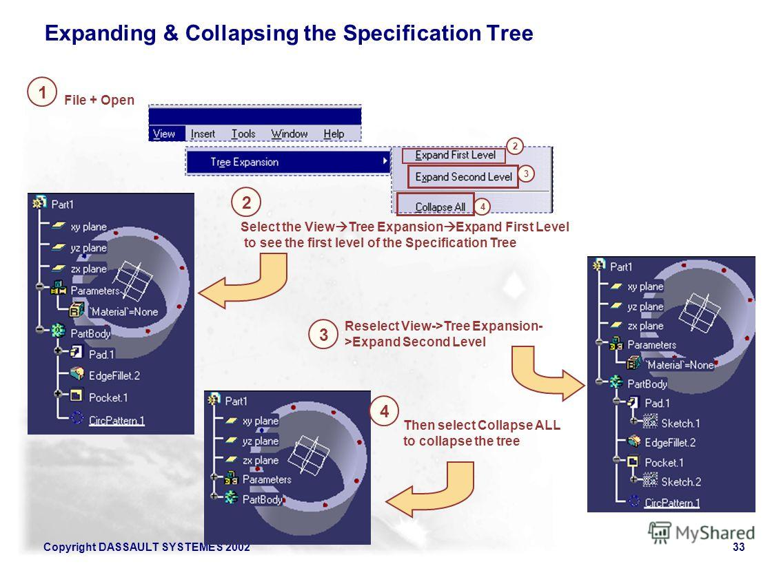 Copyright DASSAULT SYSTEMES 200233 1 2 Reselect View->Tree Expansion- >Expand Second Level Expanding & Collapsing the Specification Tree Select the View Tree Expansion Expand First Level to see the first level of the Specification Tree File + Open 3
