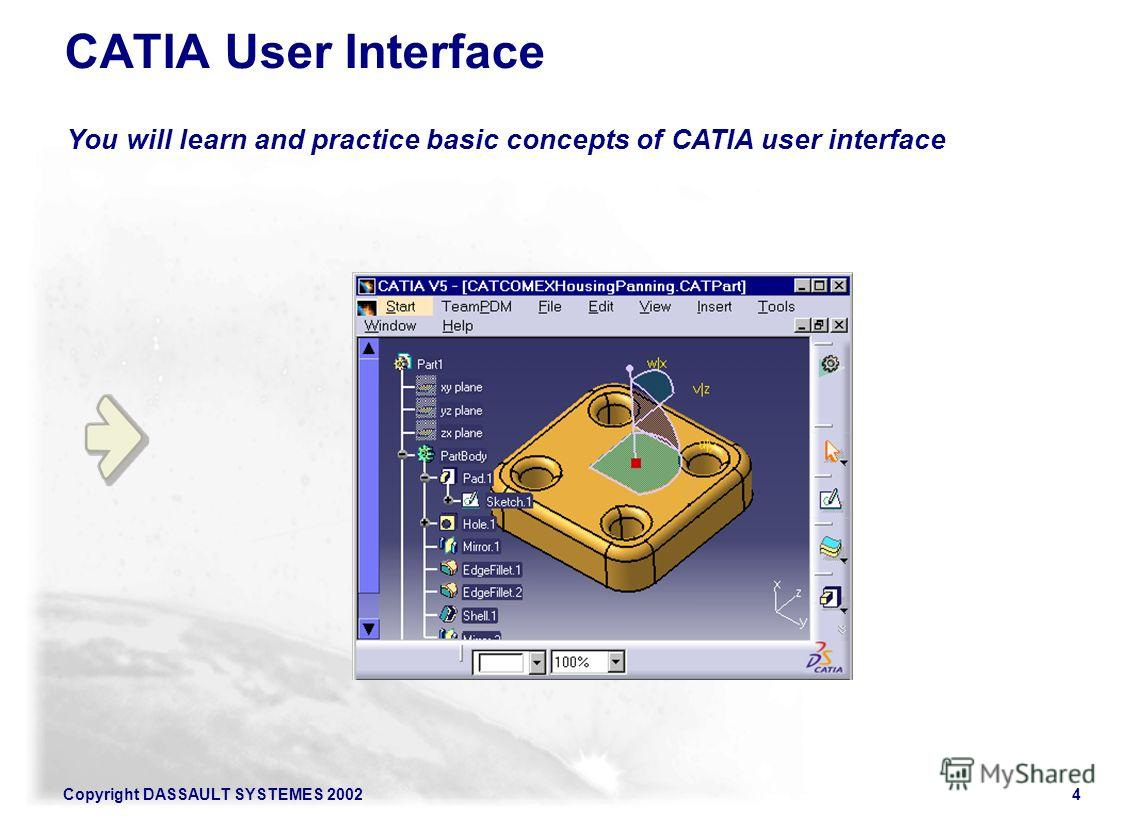 Copyright DASSAULT SYSTEMES 20024 You will learn and practice basic concepts of CATIA user interface CATIA User Interface