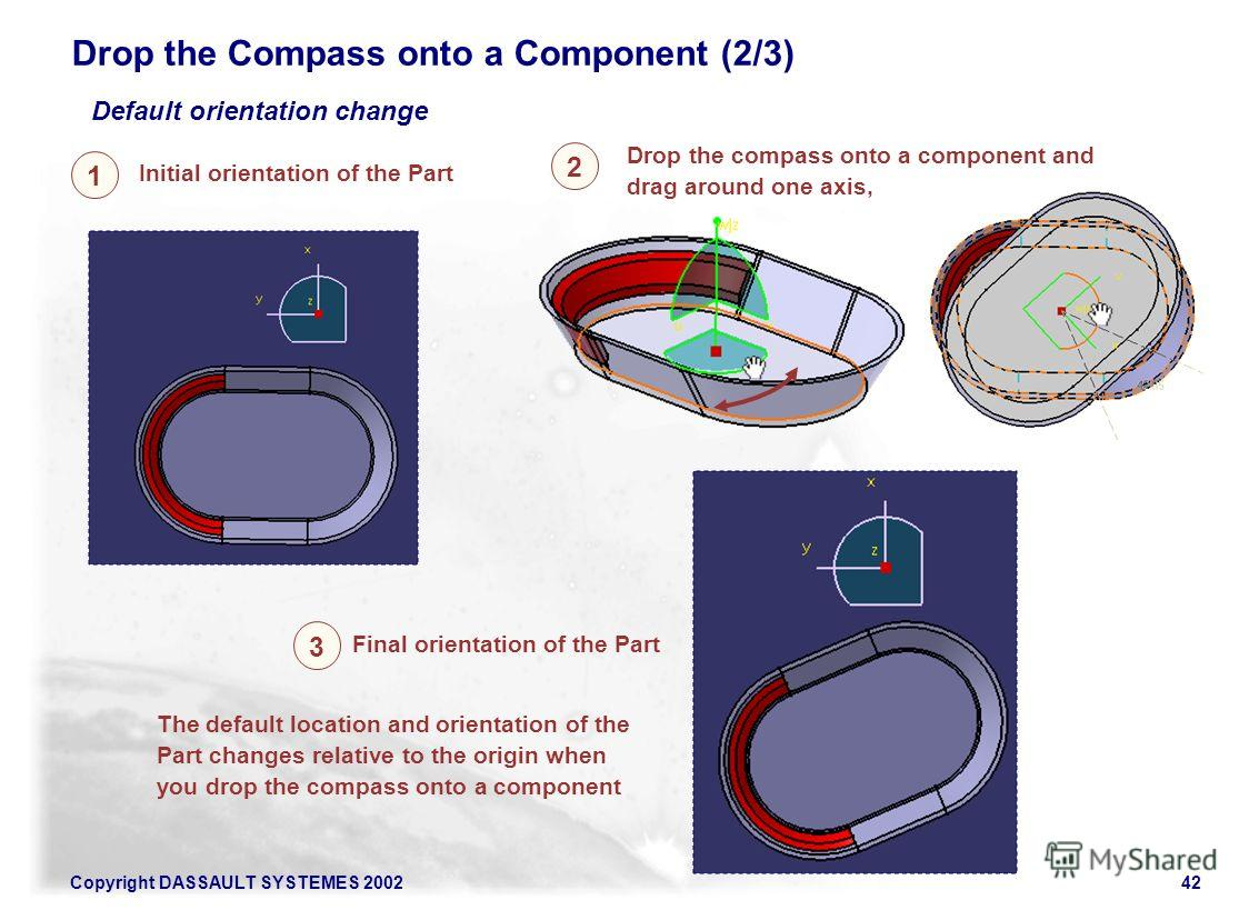 Copyright DASSAULT SYSTEMES 200242 The default location and orientation of the Part changes relative to the origin when you drop the compass onto a component Drop the Compass onto a Component (2/3) 2 1 3 Initial orientation of the Part Drop the compa