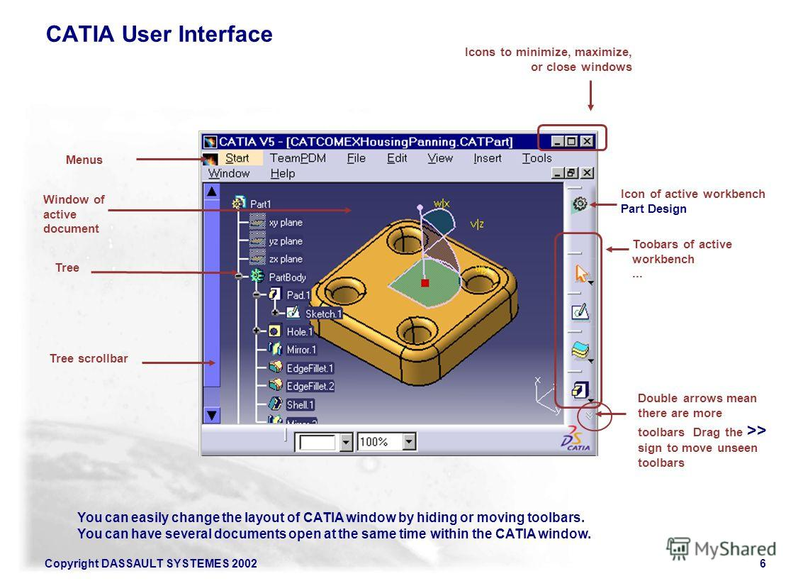 Copyright DASSAULT SYSTEMES 20026 Menus Tree Icons to minimize, maximize, or close windows Toobars of active workbench... You can easily change the layout of CATIA window by hiding or moving toolbars. You can have several documents open at the same t