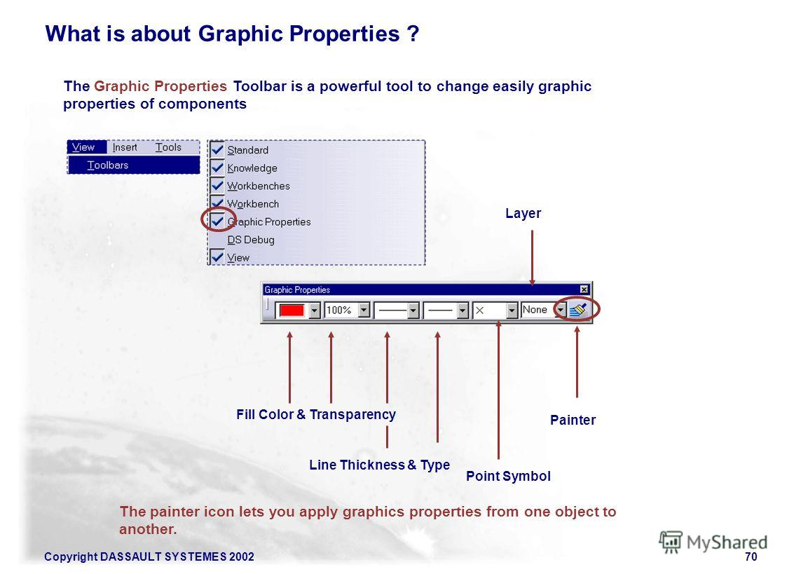Copyright DASSAULT SYSTEMES 200270 What is about Graphic Properties ? Painter (1/2) Line Thickness & Type Point Symbol Layer Fill Color & Transparency Painter The painter icon lets you apply graphics properties from one object to another. The Graphic