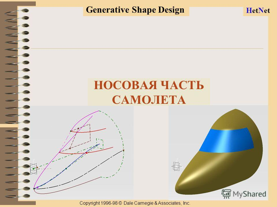 1 НОСОВАЯ ЧАСТЬ САМОЛЕТА Copyright 1996-98 © Dale Carnegie & Associates, Inc. Generative Shape Design HetNet