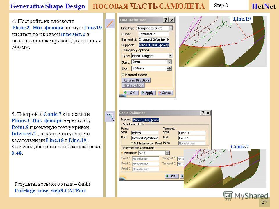 Generative Shape Design НОСОВАЯ ЧАСТЬ САМОЛЕТА HetNet Step 8 4. Постройте на плоскости Plane.3_Низ_фонаря прямую Line.19, касательно к кривой Intersect.2 в начальной точке кривой. Длина линии 500 мм. 5. Постройте Conic.7 в плоскости Plane.3_Низ_фонар