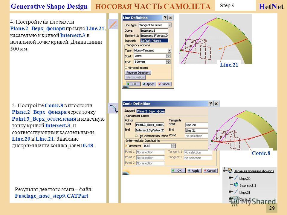 Generative Shape Design НОСОВАЯ ЧАСТЬ САМОЛЕТА HetNet Step 9 4. Постройте на плоскости Plane.2_Верх_фонаря прямую Line.21, касательно к кривой Intersect.3 в начальной точке кривой. Длина линии 500 мм. 5. Постройте Conic.8 в плоскости Plane.2_Верх_фон