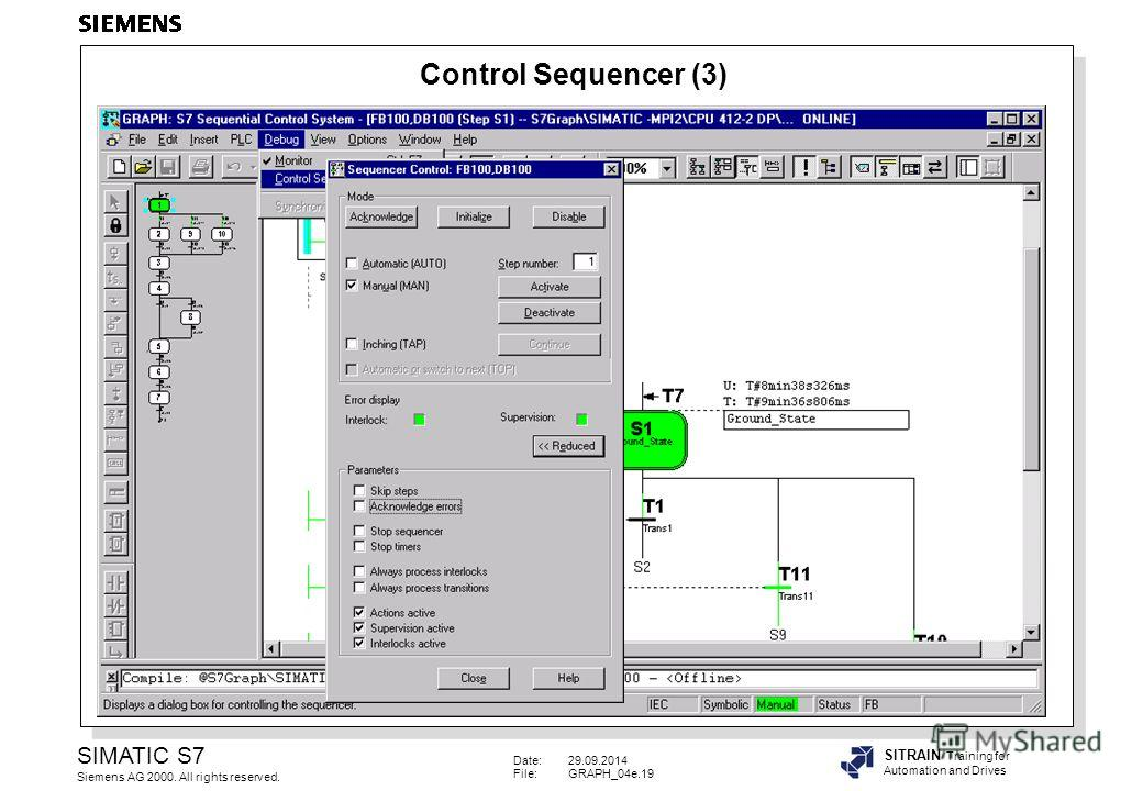 Date:29.09.2014 File:GRAPH_04e.19 SIMATIC S7 Siemens AG 2000. All rights reserved. SITRAIN Training for Automation and Drives Control Sequencer (3)