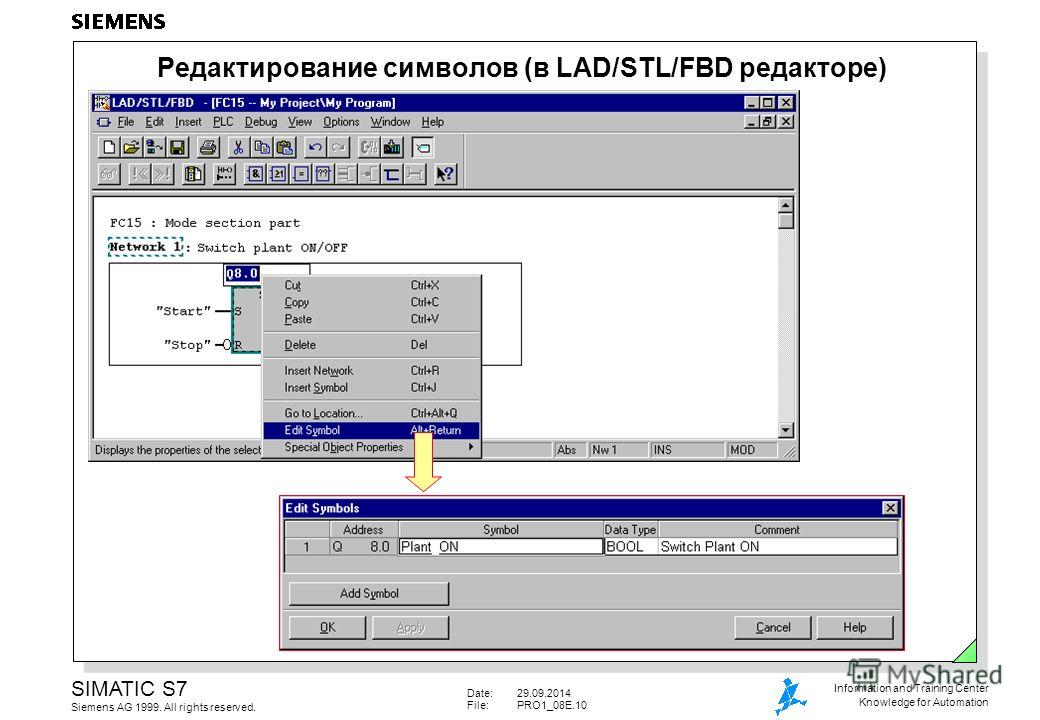 Date:29.09.2014 File:PRO1_08E.10 SIMATIC S7 Siemens AG 1999. All rights reserved. Information and Training Center Knowledge for Automation Редактирование символов (в LAD/STL/FBD редакторе)