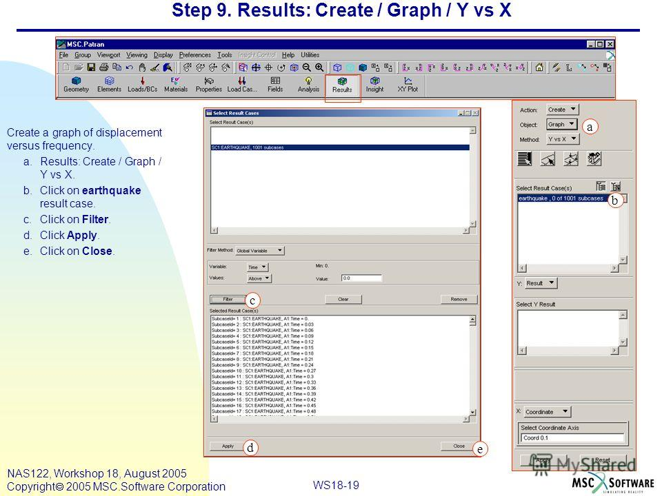 WS18-19 NAS122, Workshop 18, August 2005 Copyright 2005 MSC.Software Corporation Step 9. Results: Create / Graph / Y vs X Create a graph of displacement versus frequency. a.Results: Create / Graph / Y vs X. b.Click on earthquake result case. c.Click