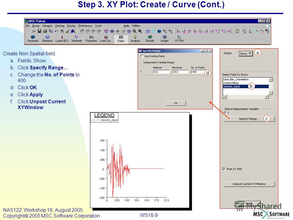 WS18-9 NAS122, Workshop 18, August 2005 Copyright 2005 MSC.Software Corporation Step 3. XY Plot: Create / Curve (Cont.) Create Non Spatial field. a.Fields: Show. b.Click Specify Range… c.Change the No. of Points to 400. d.Click OK. e.Click Apply. f.C