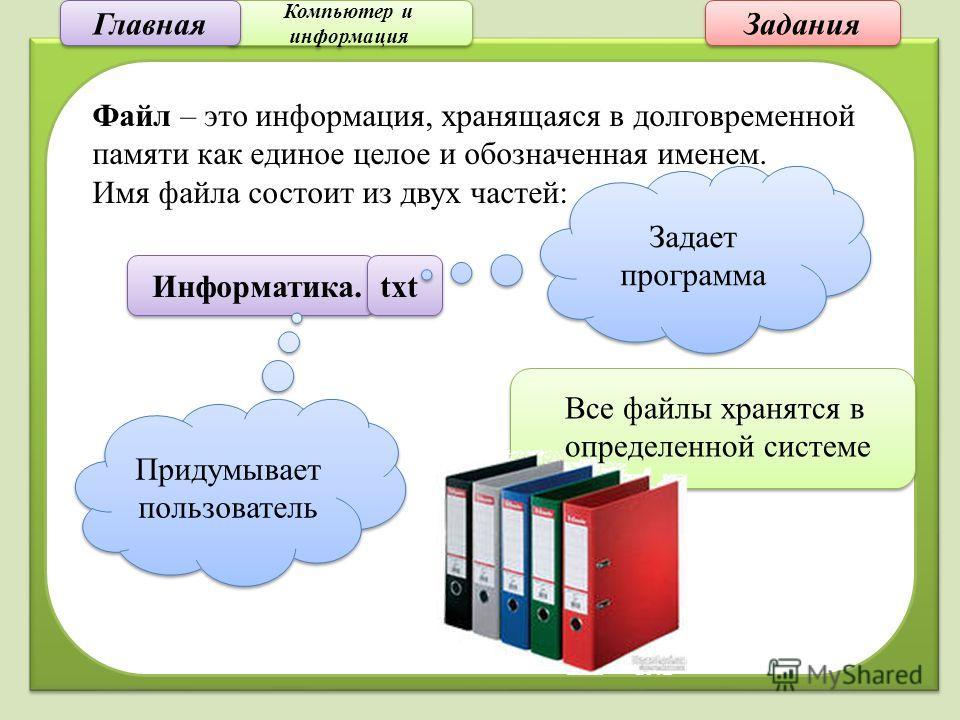 Компьютер и информация Компьютер и информация Задания Файл – это информация, хранящаяся в долговременной памяти как единое целое и обозначенная именем. Имя файла состоит из двух частей: Информатика. txt Придумывает пользователь Задает программа Все ф
