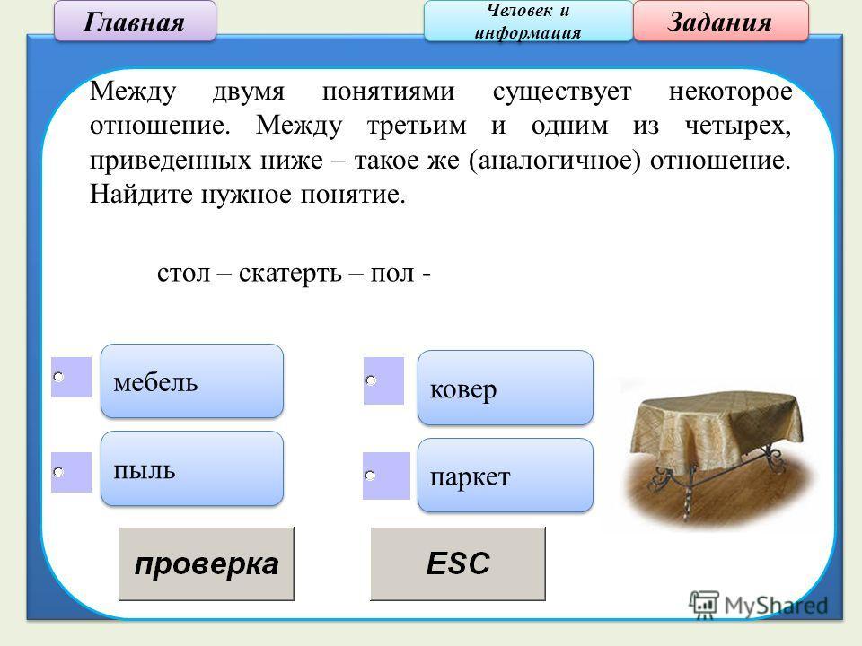Человек и информация Человек и информация Задания Между двумя понятиями существует некоторое отношение. Между третьим и одним из четырех, приведенных ниже – такое же (аналогичное) отношение. Найдите нужное понятие. мебель пыль паркет ковер стол – ска