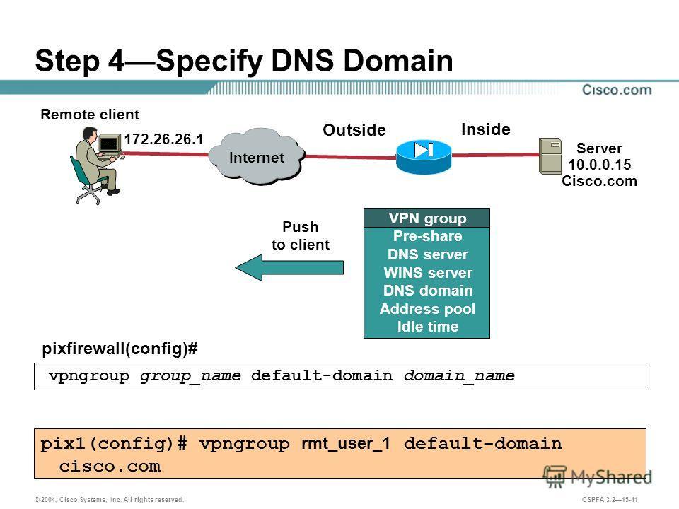 © 2004, Cisco Systems, Inc. All rights reserved. CSPFA 3.215-41 Step 4Specify DNS Domain pixfirewall(config)# vpngroup group_name default-domain domain_name pix1(config)# vpngroup rmt_user_1 default-domain cisco.com Remote client Server 10.0.0.15 Cis