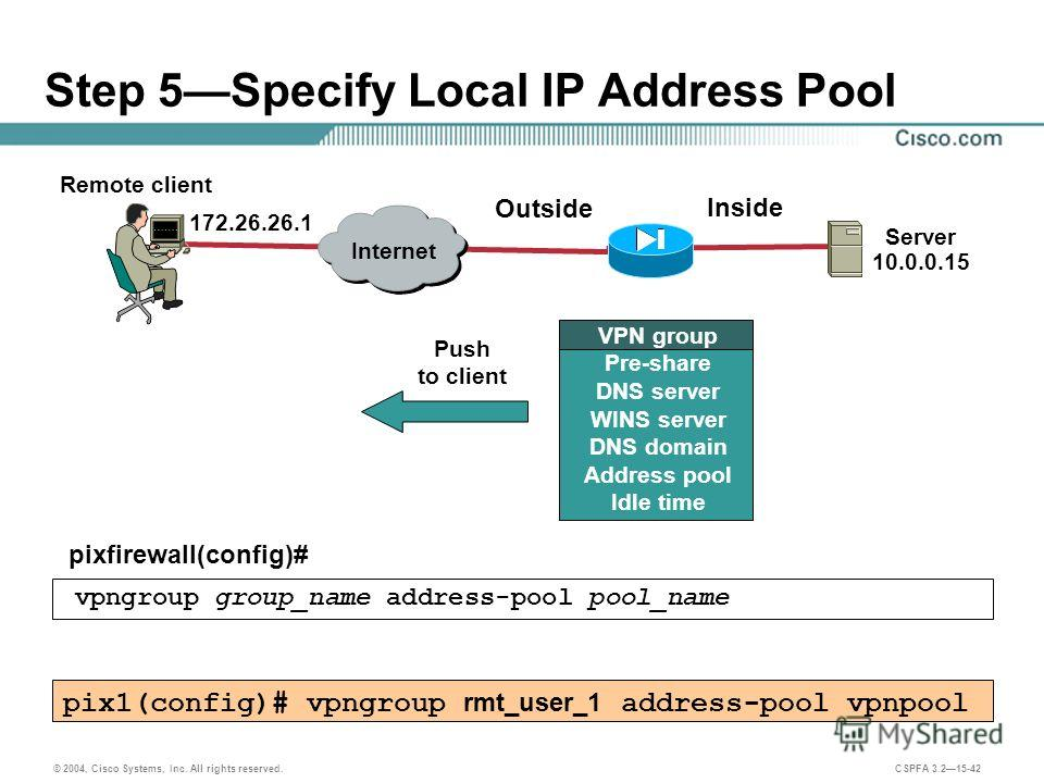 © 2004, Cisco Systems, Inc. All rights reserved. CSPFA 3.215-42 Step 5Specify Local IP Address Pool pixfirewall(config)# vpngroup group_name address-pool pool_name pix1(config)# vpngroup rmt_user_1 address-pool vpnpool Remote client Server 10.0.0.15