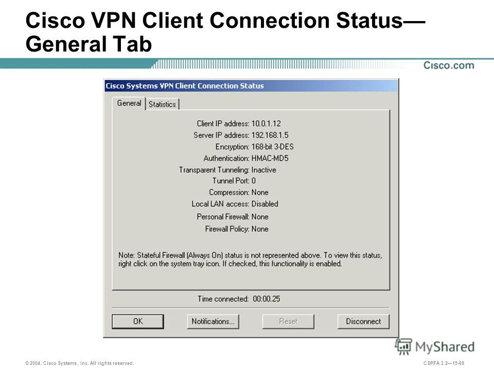 © 2004, Cisco Systems, Inc. All rights reserved. CSPFA 3.215-69 Cisco VPN Client Connection Status General Tab