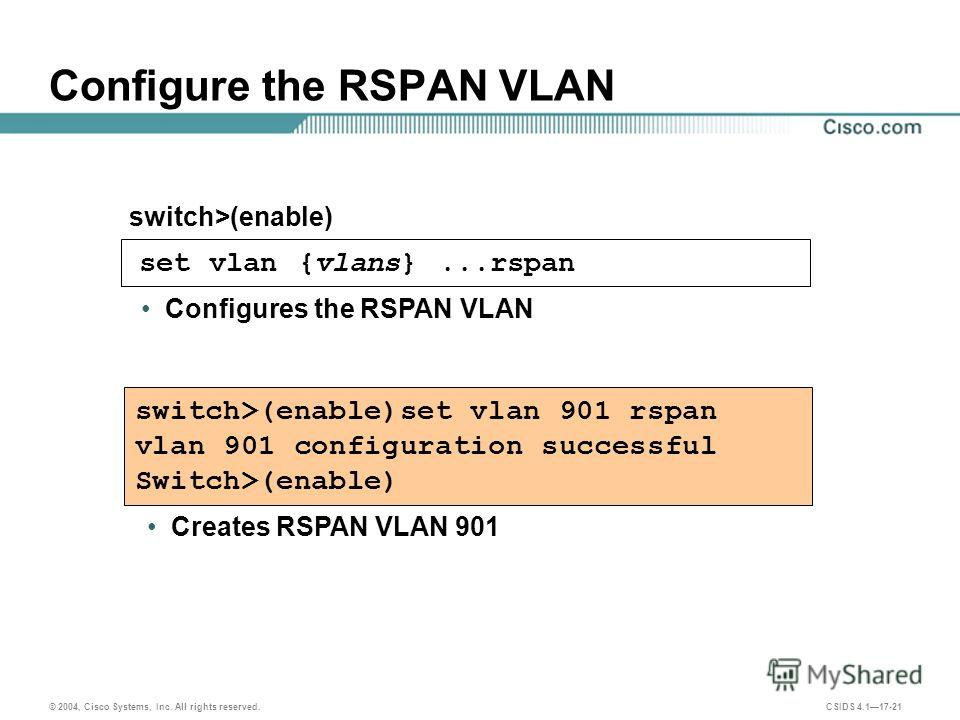 © 2004, Cisco Systems, Inc. All rights reserved. CSIDS 4.117-21 set vlan {vlans}...rspan Configure the RSPAN VLAN switch>(enable) switch>(enable)set vlan 901 rspan vlan 901 configuration successful Switch>(enable) Creates RSPAN VLAN 901 Configures th