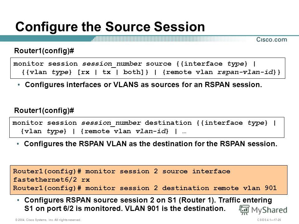 © 2004, Cisco Systems, Inc. All rights reserved. CSIDS 4.117-26 Configure the Source Session monitor session session_number source {{interface type} | {{vlan type} [rx | tx | both]} | {remote vlan rspan-vlan-id}} Router1(config)# Configures interface