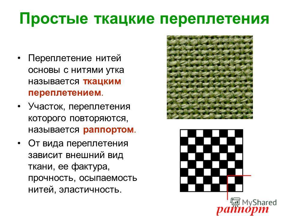 Простые ткацкие переплетения Переплетение нитей основы с нитями утка называется ткацким переплетением. Участок, переплетения которого повторяются, называется раппортом. От вида переплетения зависит внешний вид ткани, ее фактура, прочность, осыпаемост