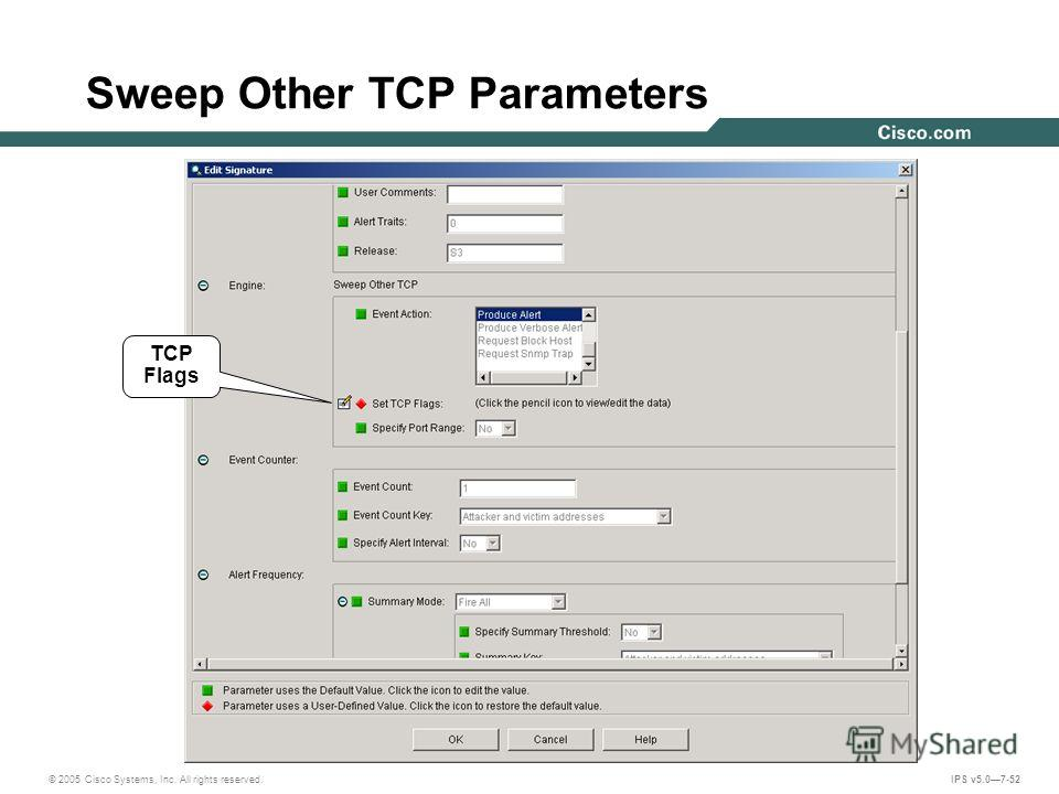 © 2005 Cisco Systems, Inc. All rights reserved. IPS v5.07-52 Sweep Other TCP Parameters TCP Flags