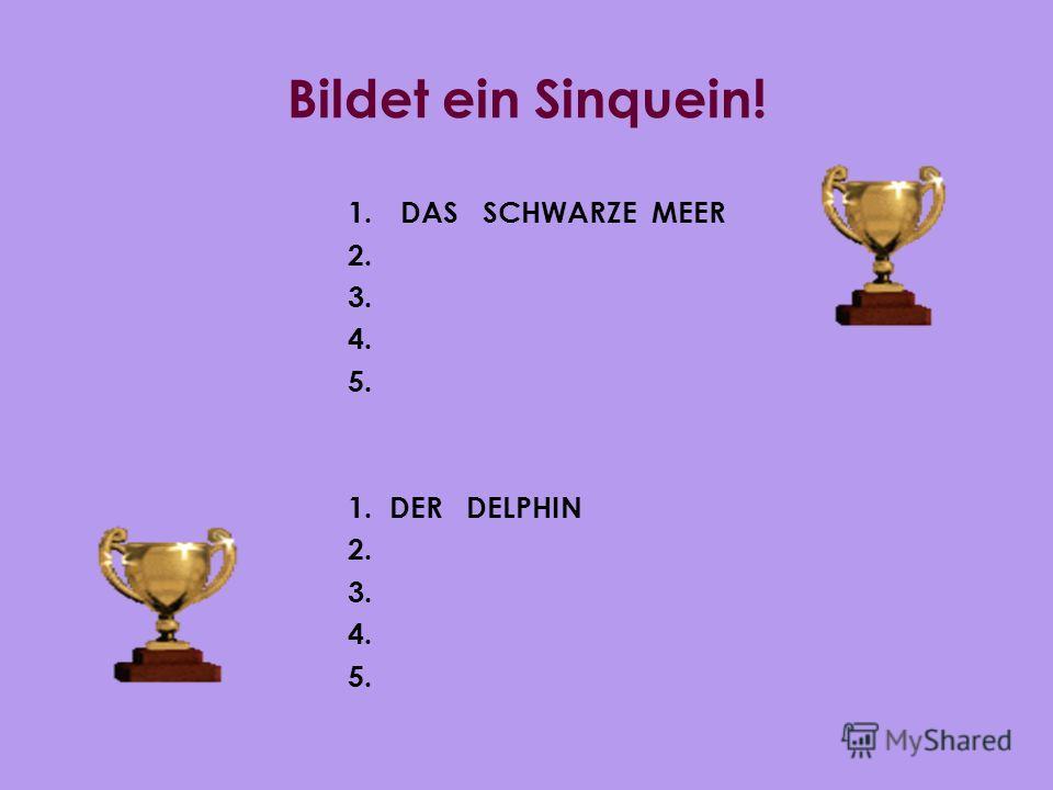 Bildet ein Sinquein! 1. DAS SCHWARZE MEER 2. 3. 4. 5. 1. DER DELPHIN 2. 3. 4. 5.