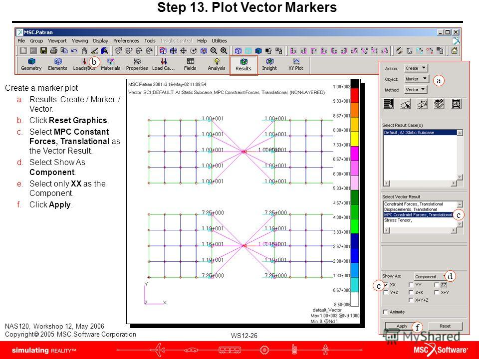 WS12-26 NAS120, Workshop 12, May 2006 Copyright 2005 MSC.Software Corporation Step 13. Plot Vector Markers Create a marker plot a.Results: Create / Marker / Vector. b.Click Reset Graphics. c.Select MPC Constant Forces, Translational as the Vector Res