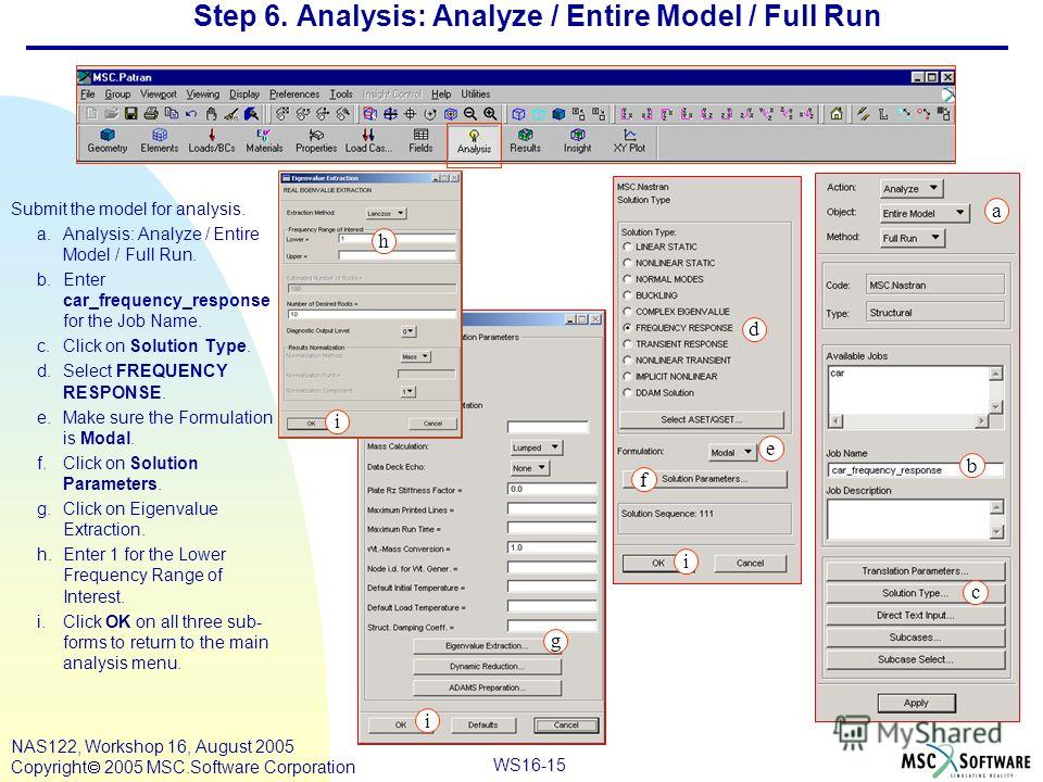WS16-15 NAS122, Workshop 16, August 2005 Copyright 2005 MSC.Software Corporation Step 6. Analysis: Analyze / Entire Model / Full Run Submit the model for analysis. a.Analysis: Analyze / Entire Model / Full Run. b.Enter car_frequency_response for the