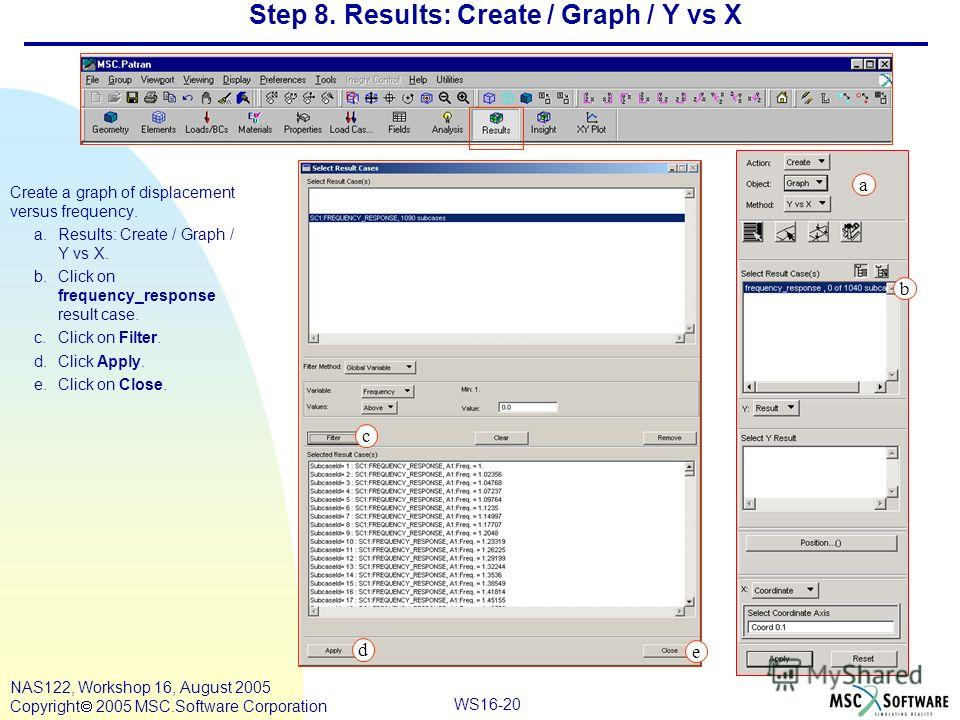 WS16-20 NAS122, Workshop 16, August 2005 Copyright 2005 MSC.Software Corporation Step 8. Results: Create / Graph / Y vs X Create a graph of displacement versus frequency. a.Results: Create / Graph / Y vs X. b.Click on frequency_response result case.