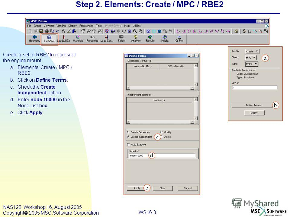 WS16-8 NAS122, Workshop 16, August 2005 Copyright 2005 MSC.Software Corporation Step 2. Elements: Create / MPC / RBE2 Create a set of RBE2 to represent the engine mount. a.Elements: Create / MPC / RBE2. b.Click on Define Terms. c.Check the Create Ind