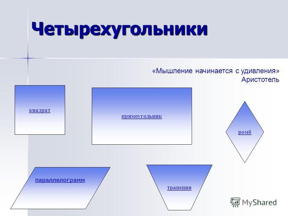 Четырехугольники парольлелограмм прямоугольник ромб квадрат трапеция «Мышление начинается с удивления» Аристотель
