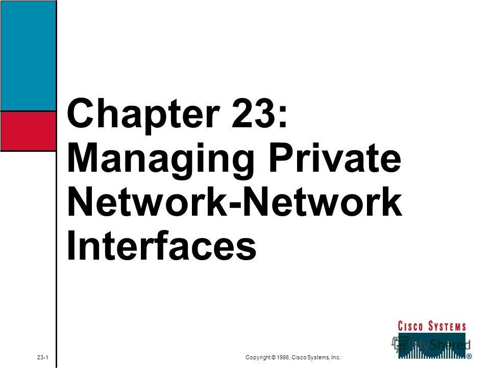 Chapter 23: Managing Private Network-Network Interfaces 23-1 Copyright © 1998, Cisco Systems, Inc.