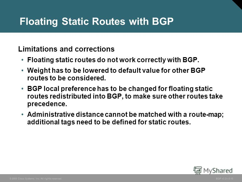 © 2005 Cisco Systems, Inc. All rights reserved. BGP v3.25-15 Limitations and corrections Floating static routes do not work correctly with BGP. Weight has to be lowered to default value for other BGP routes to be considered. BGP local preference has