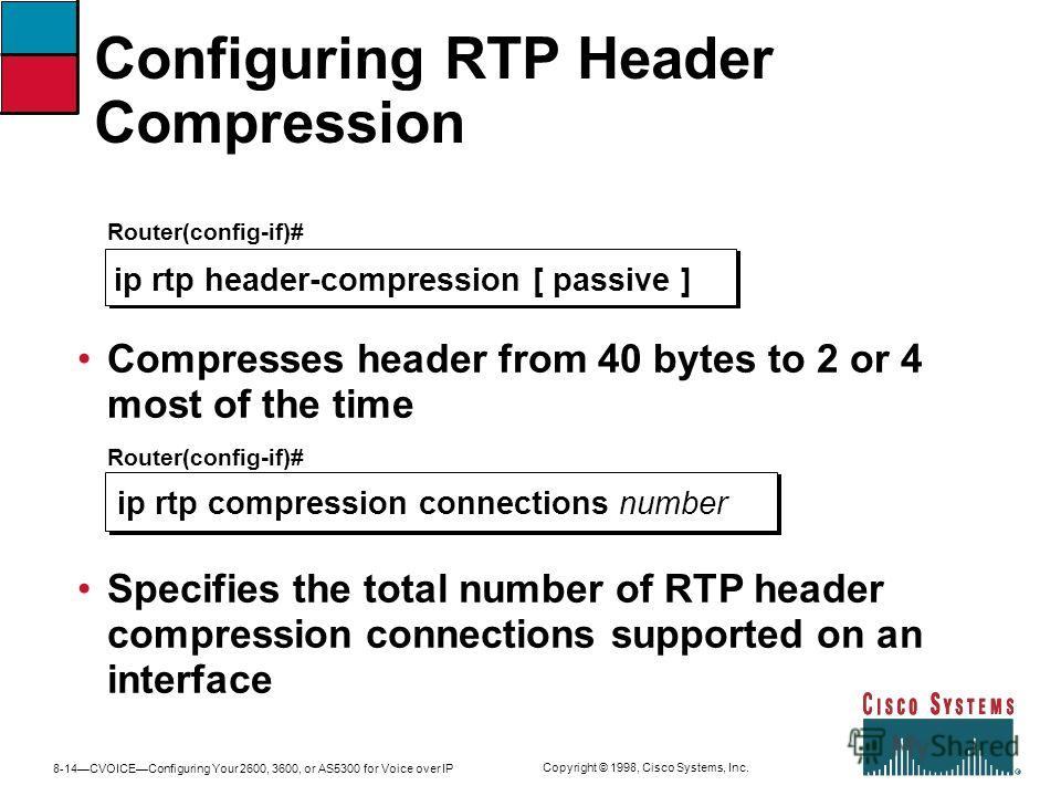 8-14CVOICEConfiguring Your 2600, 3600, or AS5300 for Voice over IP Copyright © 1998, Cisco Systems, Inc. Configuring RTP Header Compression Router(config-if)# ip rtp header-compression [ passive ] Compresses header from 40 bytes to 2 or 4 most of the