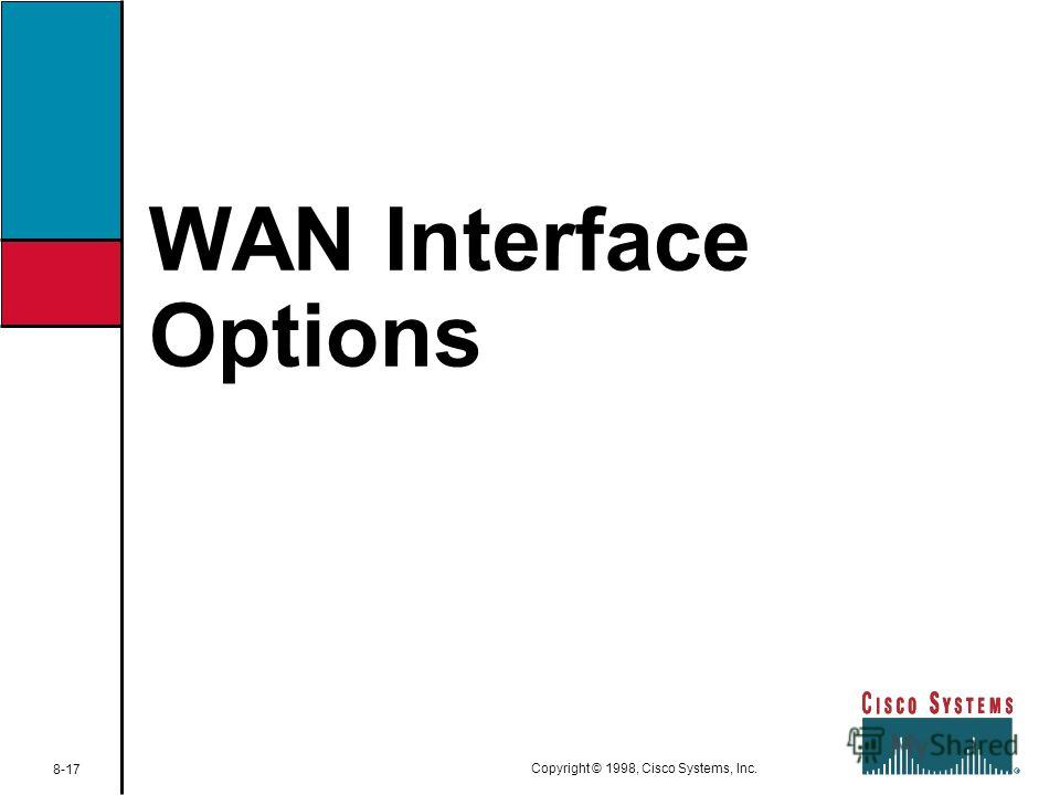 WAN Interface Options 8-17 Copyright © 1998, Cisco Systems, Inc.
