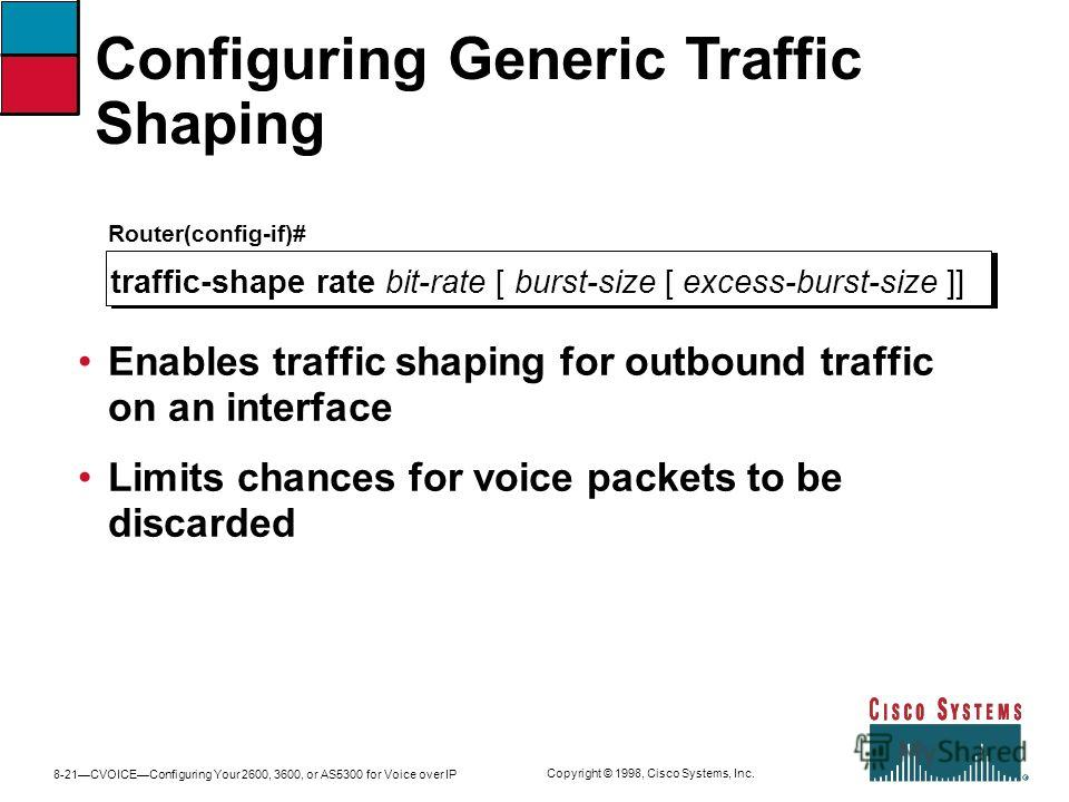 8-21CVOICEConfiguring Your 2600, 3600, or AS5300 for Voice over IP Copyright © 1998, Cisco Systems, Inc. Configuring Generic Traffic Shaping Router(config-if)# traffic-shape rate bit-rate [ burst-size [ excess-burst-size ]] Enables traffic shaping fo
