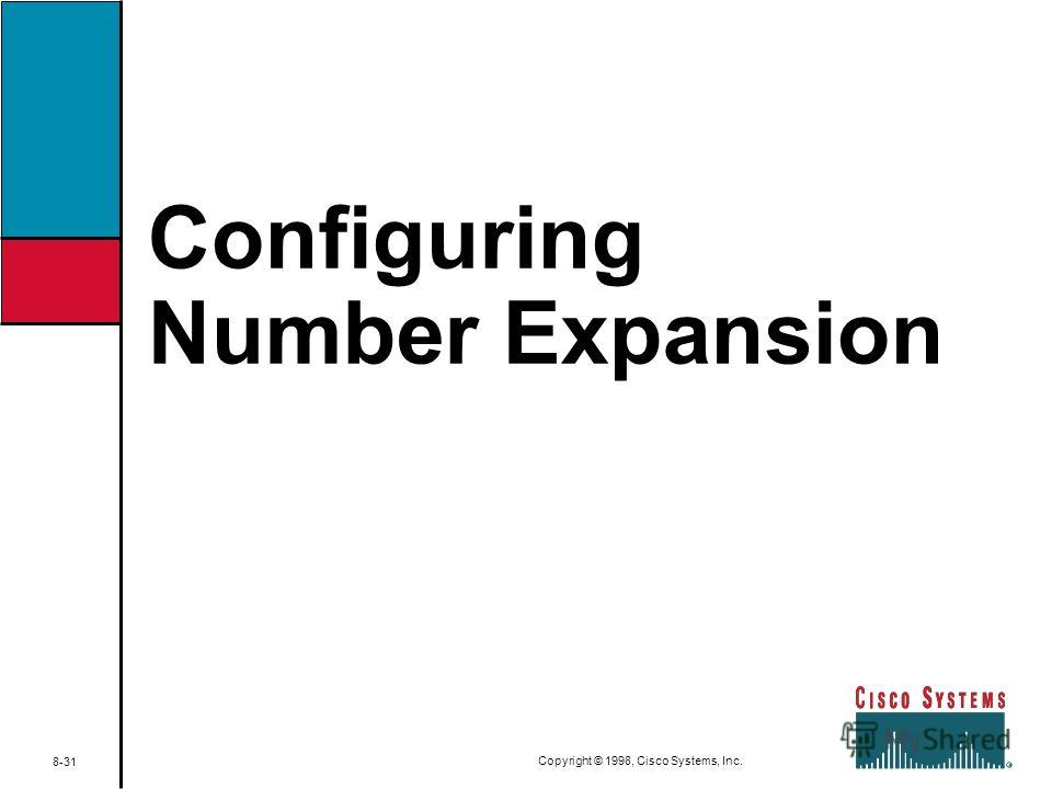 Configuring Number Expansion 8-31 Copyright © 1998, Cisco Systems, Inc.