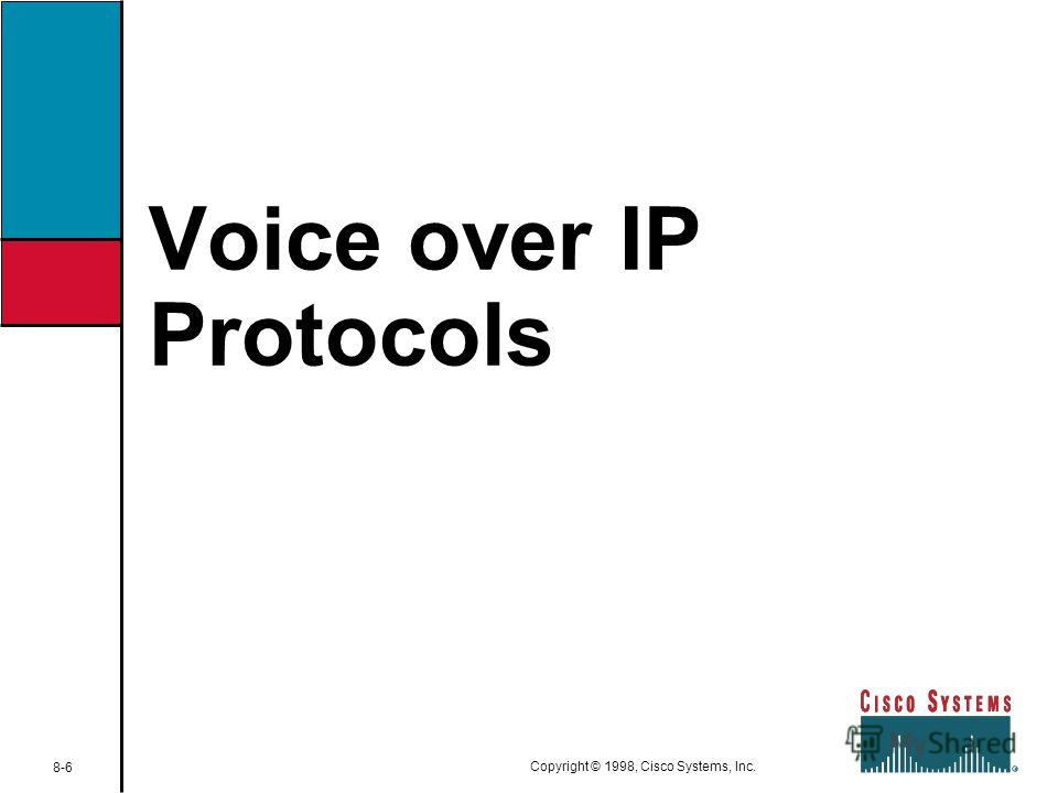 Voice over IP Protocols 8-6 Copyright © 1998, Cisco Systems, Inc.